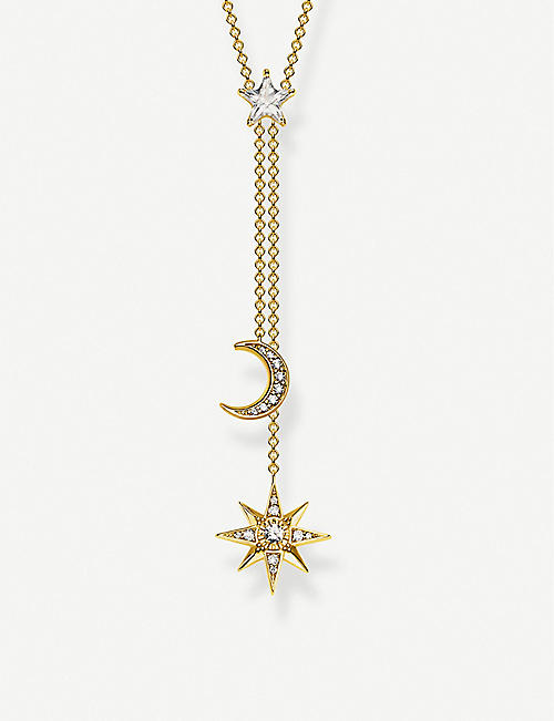 THOMAS SABO Magic Stars Moon 18ct yellow gold-plated sterling silver necklace