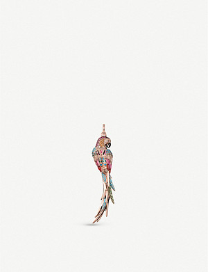 THOMAS SABO 18ct rose gold-plated sterling silver, enamel, zirconia and ceramic parrot pendant