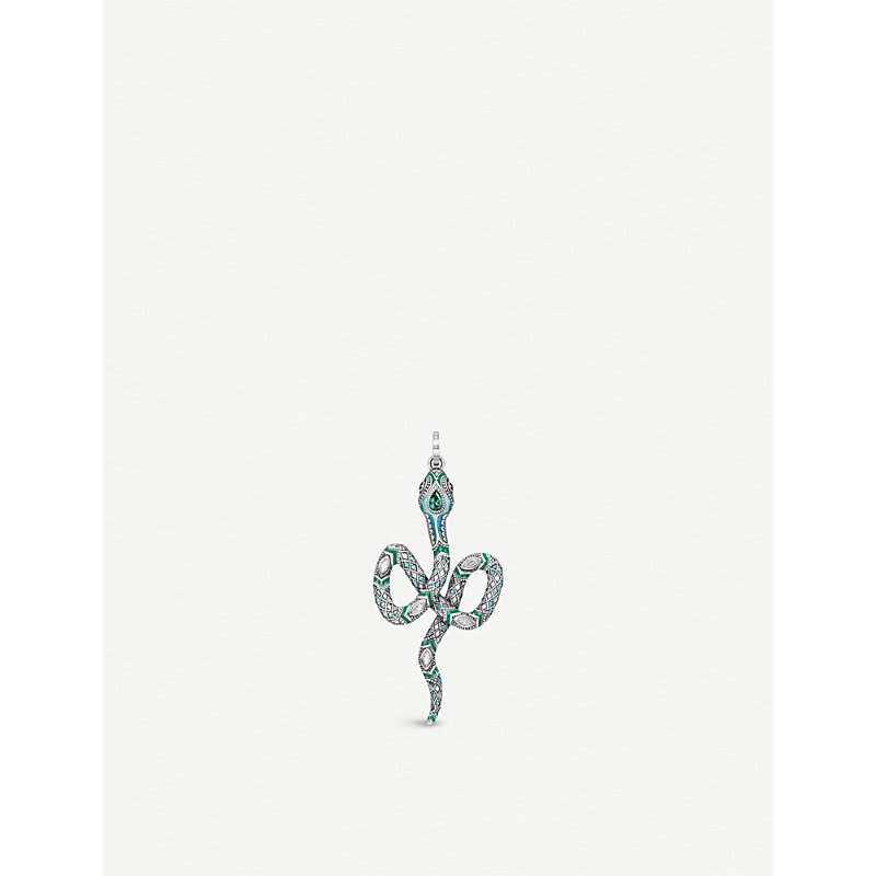 THOMAS SABO | Tropical Sterling Silver And Coloured Stone Snake Pendant | Goxip