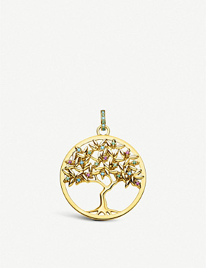 THOMAS SABO Paradise Tree of Love 18ct yellow gold-plated gemstone pendant