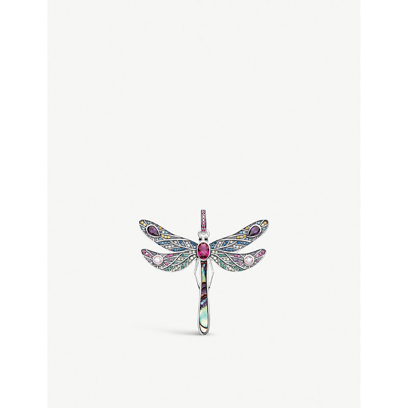 THOMAS SABO | Paradise Colours Dragonfly Sterling Silver Gemstone Pendant | Goxip