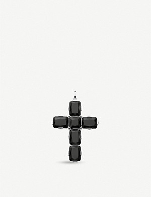 THOMAS SABO Sterling silver, onyx and zirconia cross pendant