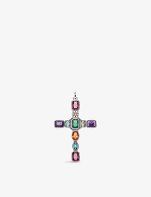 THOMAS SABO Magic Stones sterling silver and gemstone cross pendant