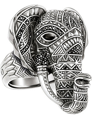 THOMAS SABO: Elephant head sterling silver ring