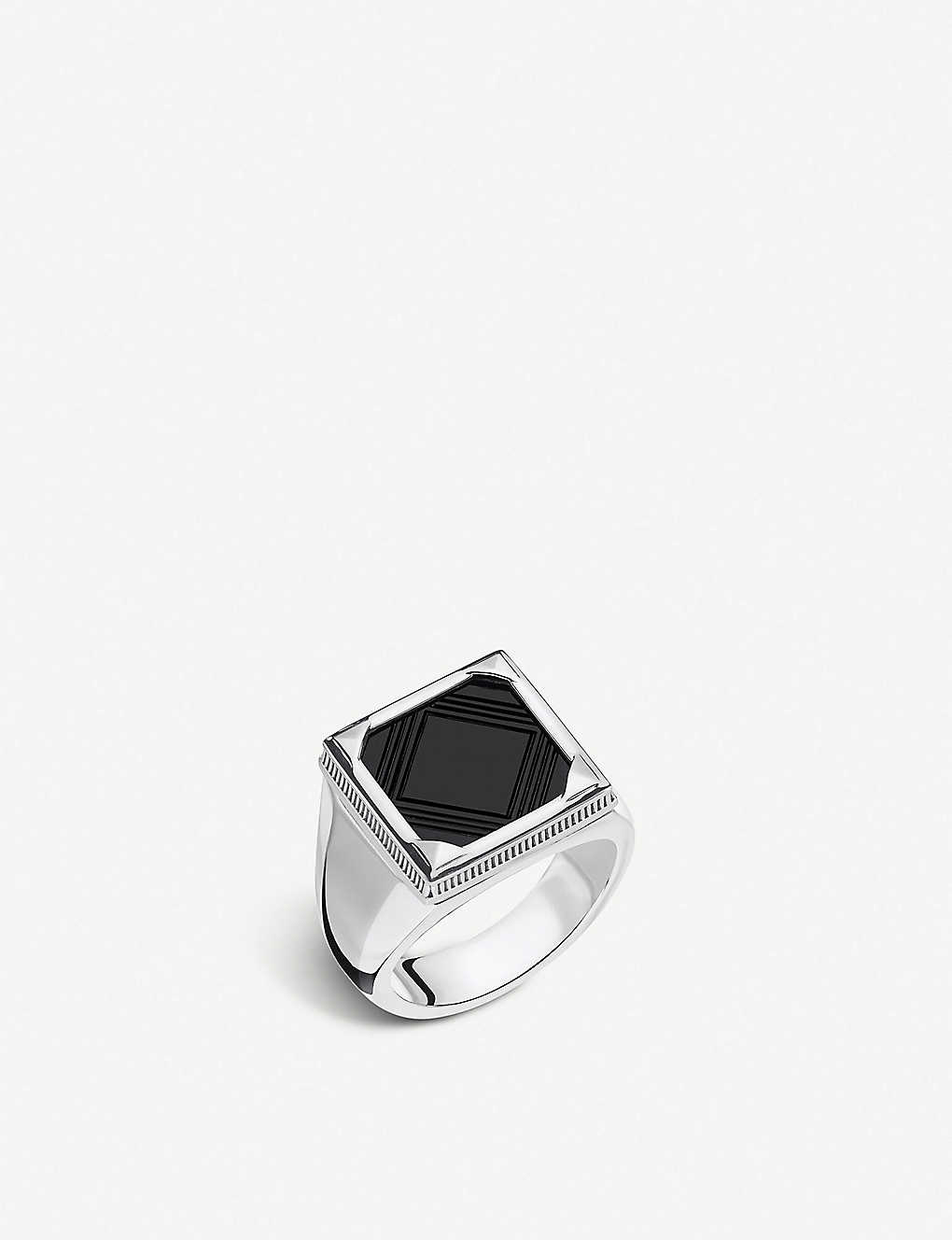 THOMAS SABO: Rebel at Heart square onyx and silver signet ring