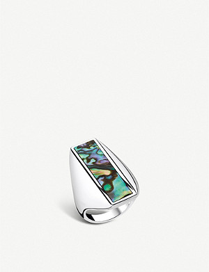 THOMAS SABO Heritage sterling silver and abalone mother-of-pearl ring
