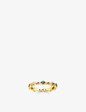 THOMAS SABO Colourful Stones 18ct yellow-gold plated sterling silver and zirconia band ring