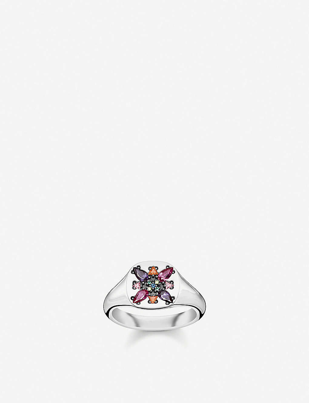 THOMAS SABO: Colourful Stones sterling silver and zirconia signet ring