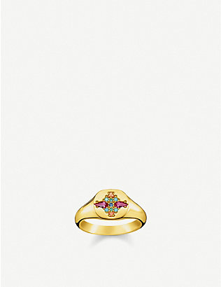 THOMAS SABO: Colourful Stones 18ct yellow-gold plated sterling silver and zirconia signet ring