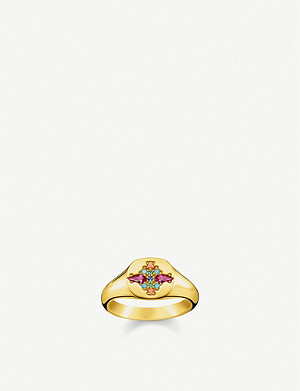 THOMAS SABO Colourful Stones 18ct yellow-gold plated sterling silver and zirconia signet ring