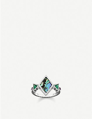 THOMAS SABO: Zig-Zag sterling silver and abalone mother-of-pearl ring