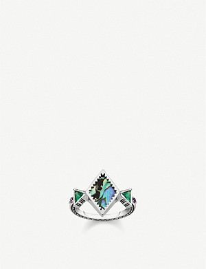 THOMAS SABO Zig-Zag sterling silver and abalone mother-of-pearl ring