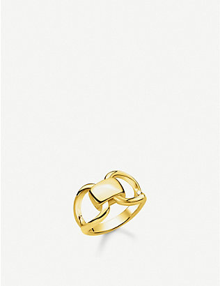 THOMAS SABO: Heritage 18ct yellow-gold plated sterling silver buckle ring