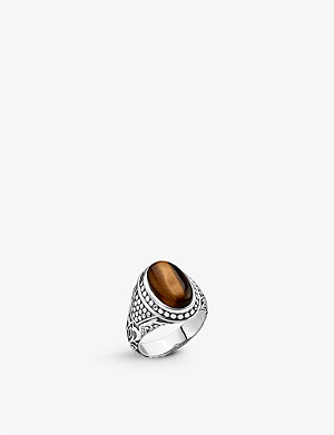 THOMAS SABO Rebel at Heart sterling silver and tiger's eye signet ring