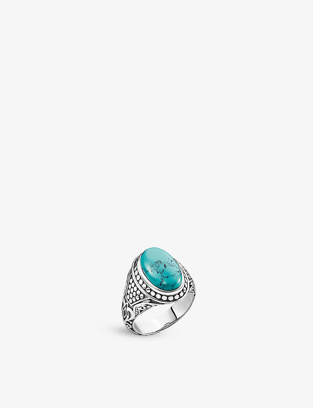 THOMAS SABO: Arizona sterling silver and faux-turquoise stone signet ring