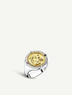 THOMAS SABO Faith, Love, Hope 18ct yellow-gold plated silver signet ring