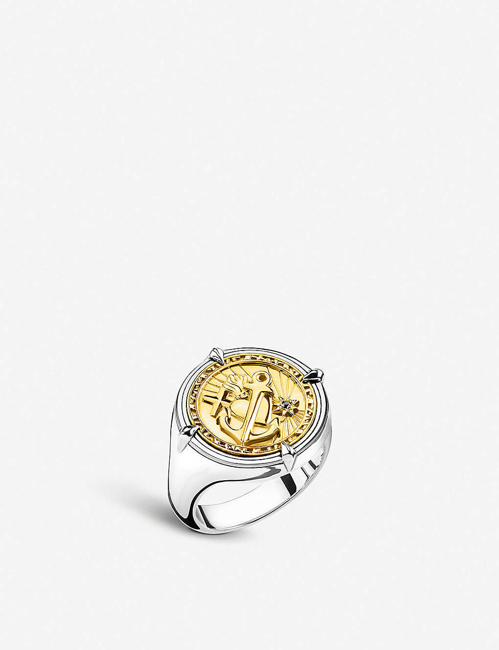 THOMAS SABO: Faith, Love, Hope 18ct yellow-gold plated silver signet ring