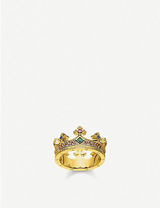 THOMAS SABO: Crown 18ct yellow gold-plated sterling-silver ring