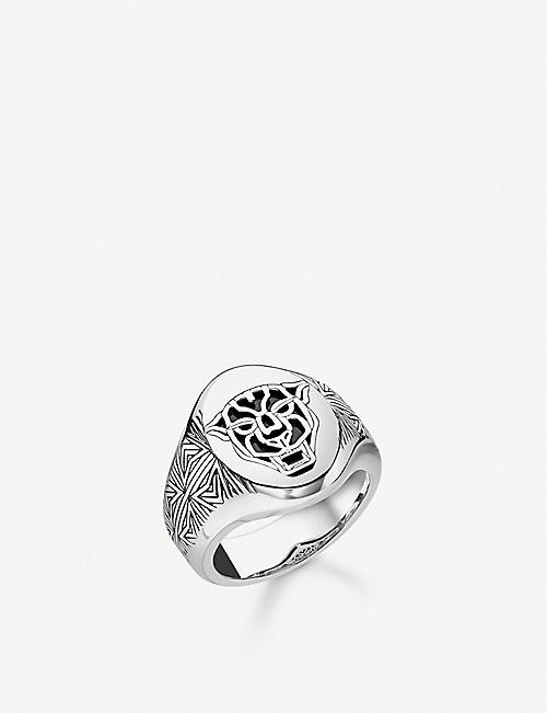 THOMAS SABO Black Cat sterling silver and onyx signet ring