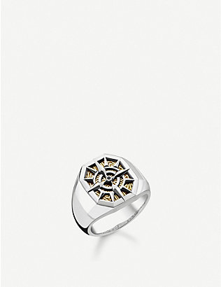 THOMAS SABO: Engraved compass gold-plated and sterling silver signet ring