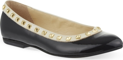 STEP2WO Piazza studded leather ballerina shoes 7-11 years