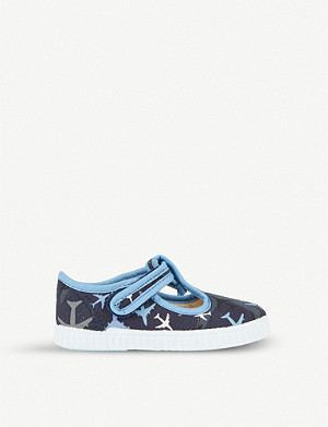 STEP2WO Mitch plane-print canvas t-bar shoes 6 months – 7 years