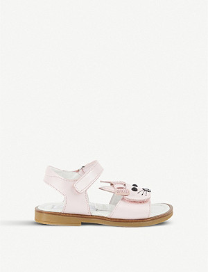 STEP2WO Rabbit bow-detail leather sandals 1-5 years