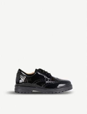 STEP2WO Anita brogue-detail patent leather school shoes