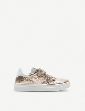 STEP2WO Alisha metallic crinkled leather low-top trainers 7-11 years