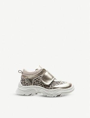 STEP2WO Mini Corina leopard print and metallic leather trainers 1-5 years