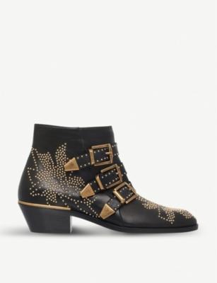 3732ff9a61 CHLOE Susanna studded leather ankle boots