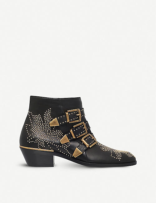 CHLOE: Susanna leather heeled ankle boots