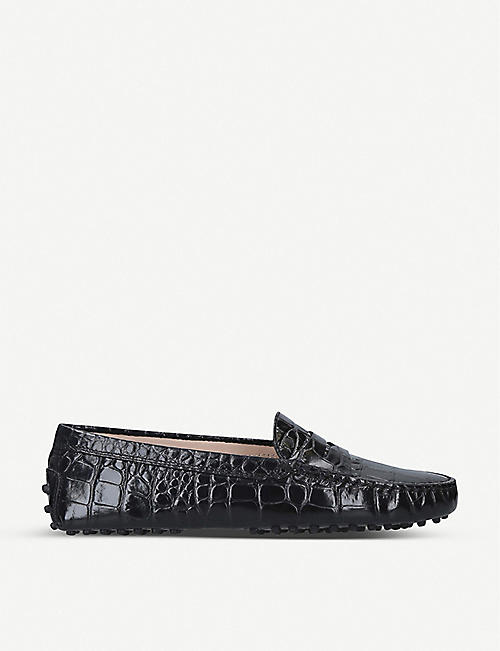 TODS Mocassino croc-embossed leather driving shoes