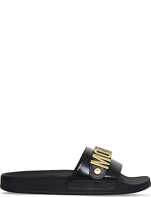 MOSCHINO Logo leather pool sliders