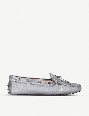 TODS Heaven metallic-leather driving shoes