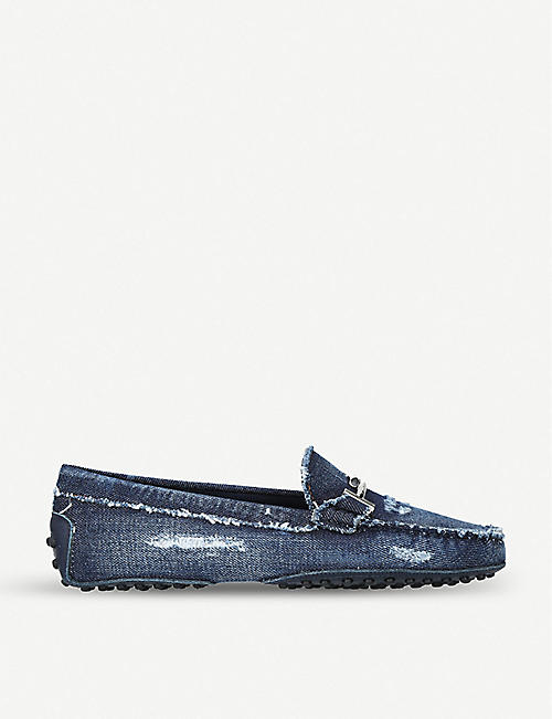 c511f0e94f1 TODS Gommino denim loafers