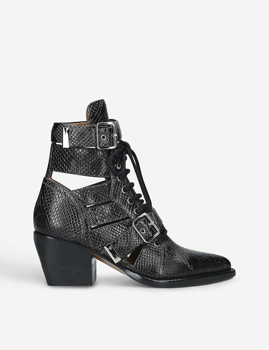 2049ac83daea4 CHLOE - Rylee 60 snake-embossed leather ankle boots   Selfridges.com