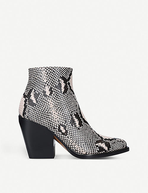CHLOE Snakeskin-embossed leather ankle boots