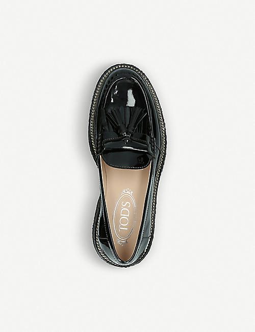 TODS Gomma Para patent leather loafers