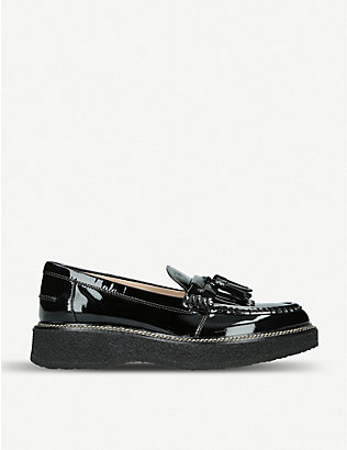 TODS: Gomma Para patent leather loafers