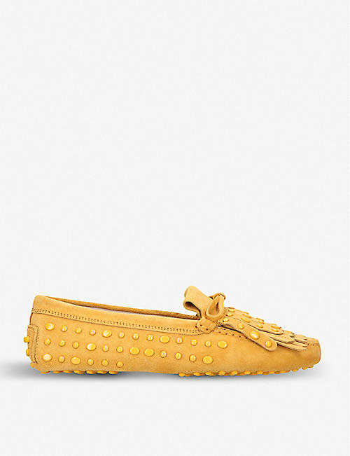 TODS Stud and tassel-embellished suede loafers fbd1b56087c0f