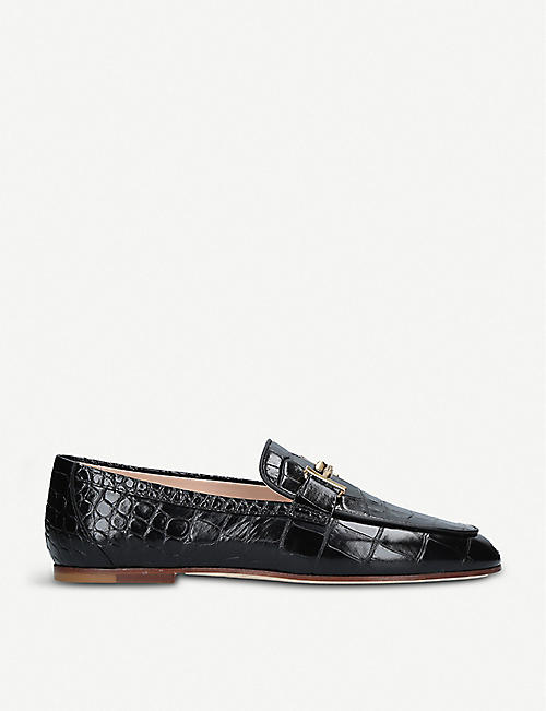 TODS Double T crocodile-embossed leather moccassins