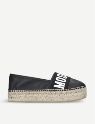 MOSCHINO Logo leather platform espadrilles