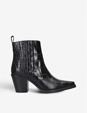 GANNI Callie crocodile-embossed leather ankle boots