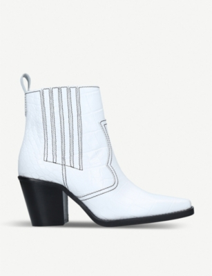 GANNI Callie contrast-stitch leather ankle boots
