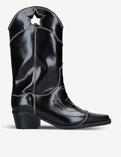 GANNI Marlyn star-cutout contrast-stitch leather boots