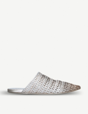 MARSELL Woven metallic leather flat mules