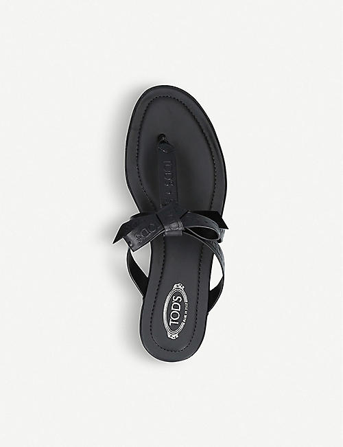 TODS Bow-front logo-embossed leather sandals