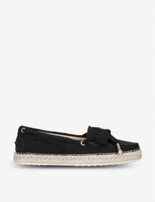 TODS Gommino raffia and suede loafers