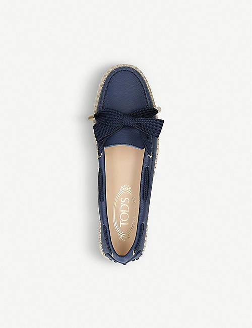 TODS Gommino raffia and leather loafers